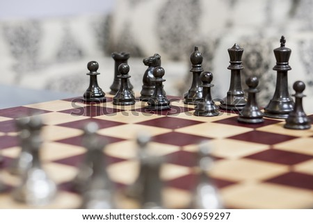 A vintage chess board. - stock photo