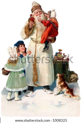 A vintage Christmas illustration of St. Nicholas giving gifts to children (circa 1890) - stock photo