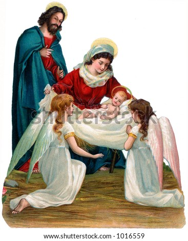 A vintage Christmas nativity illustration with angels (circa 1896) - stock photo