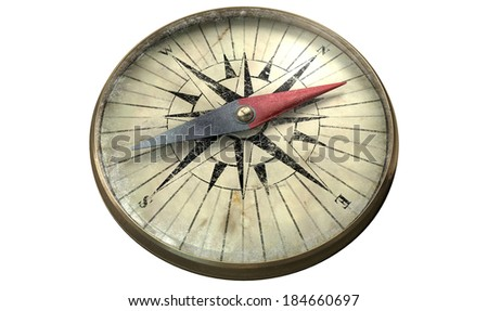 A vintage compass made of copper with a scratched glass on an isolated white background - stock photo