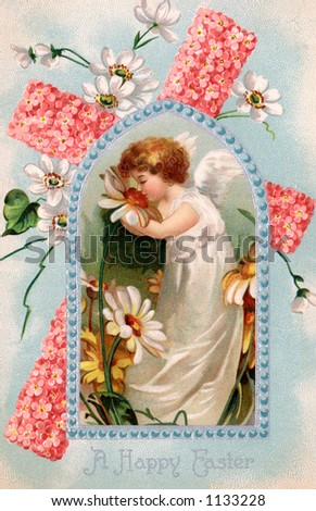 A vintage Easter illustration of an cherub ssmelling daisies flowers (circa 1909) - stock photo