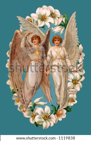 A vintage Easter illustration of two angels framed by Lilies (circa 1902) - stock photo