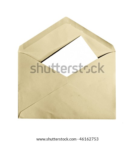 A vintage envelope with letter inside, copyspace, isolated on white - stock photo