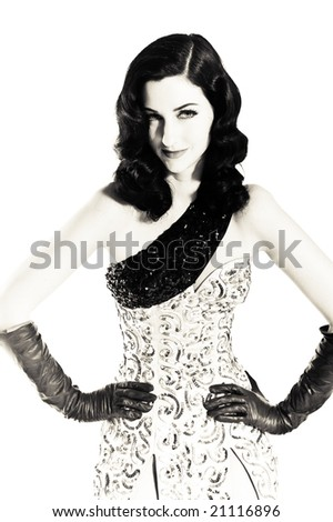 A vintage female model, photographed in the studio. - stock photo