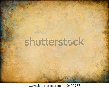 A vintage grunge background with patina-like colors and textures in two corners. - stock photo
