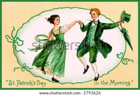A vintage 1909 illustration of an Irish couple dancing - 'St Patrick's Day in the Morning' - stock photo