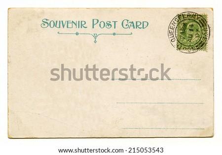 A vintage postcard over a plain white background. - stock photo