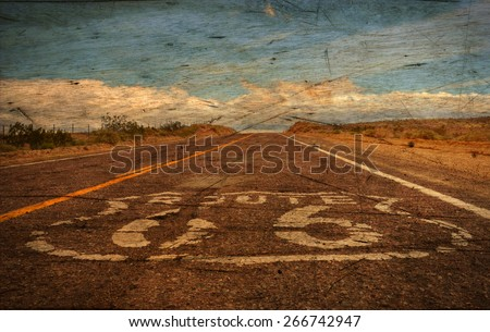A vintage rendition of Route 66 in the Mojave Desert, California. - stock photo
