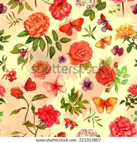 A vintage style seamless background pattern with watercolour drawings of roses and other flowers, berries, leaves and butterflies, toned - stock photo