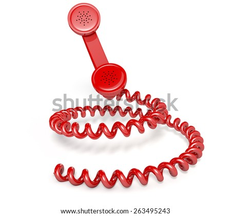 A vintage telephone handset connected to a coiled cord shaped like a spiral on an isolated white studio background - stock photo