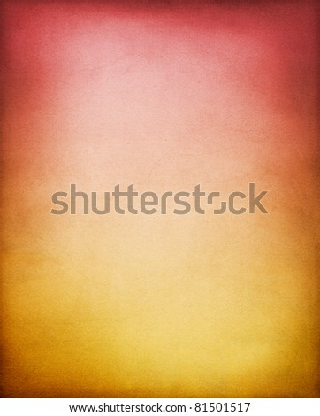 A vintage, textured paper background with a yellow-brown to red  gradient.  See my portfolio for other color variations of this background. - stock photo