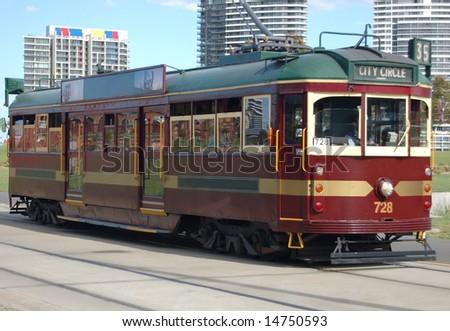 A vintage Tram, taken in melbourne - australia - stock photo