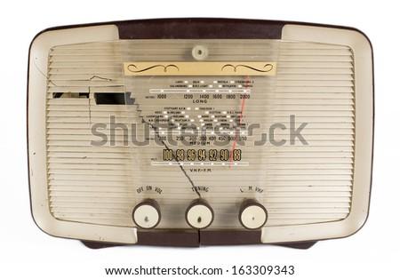 a vintage transistor radio against white - stock photo