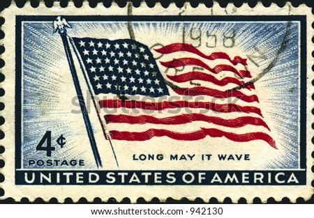 A vintage US potage stamp from the 1950's celebrating the US flag. 4 cents. - stock photo