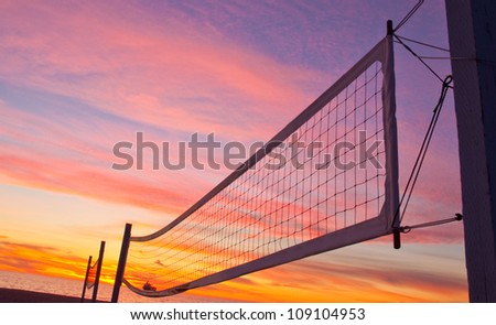 A volleyball net near Manhattan Beach, Los Angeles, California. - stock photo