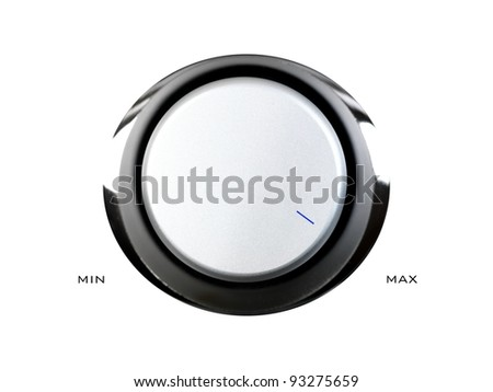 A volume contol knob isolated against a white background - stock photo