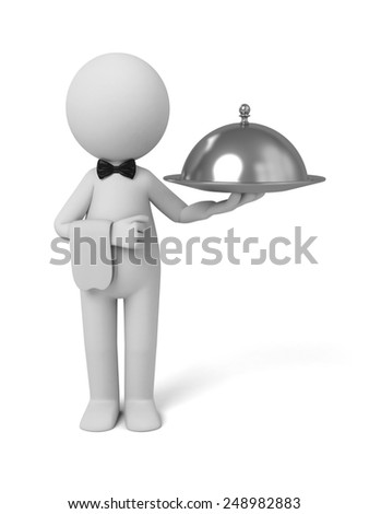 A waiter with food platter. 3d image. Isolated white background. - stock photo