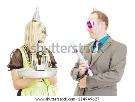 A waitress and a businessman - stock photo