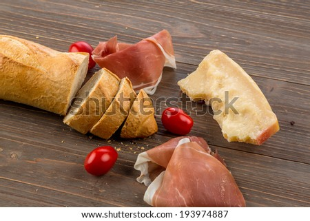 a wake of fresh white bread. food from the bakery - stock photo