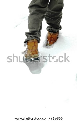 A walk in the snow, white space for text - stock photo