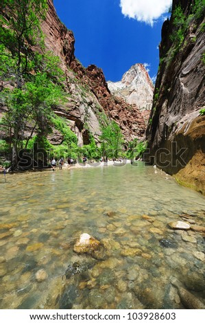 A walk through the Narrows at Temple of Sinawava - stock photo