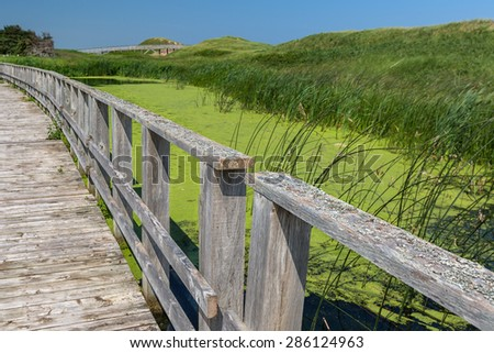 A walkway over the marsh along the sand dunes in Prince Edward Island National Park, Cavendish, PEI, Canada. - stock photo
