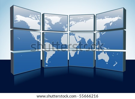 A wall of monitors display a world map of Earth on a group of computer or tv screens. - stock photo