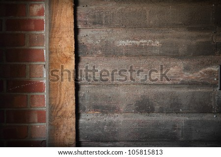 A wall that is brick and wooden in western style - stock photo