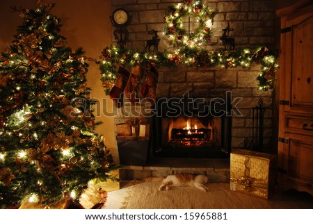 A warm cozy room with a fireplace,(low-light) - stock photo