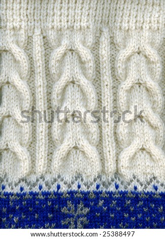A warm wool winter sweater texture, fragment, closeup. - stock photo