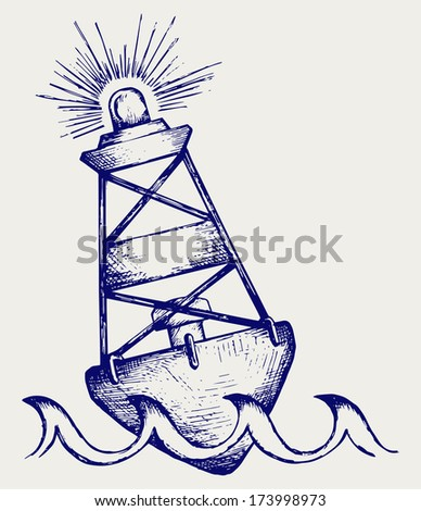 A warning buoy off the coast. Doodle style. Raster version - stock photo