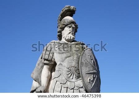 A warrior statue in Villa Olmo's gardens, Como, Italy - stock photo