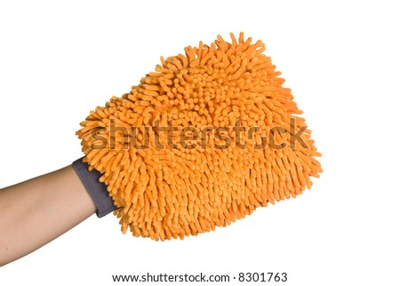 A wash mitt ready to take on tough cleaning jobs - stock photo