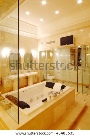 a washroom in modern and simple style - stock photo