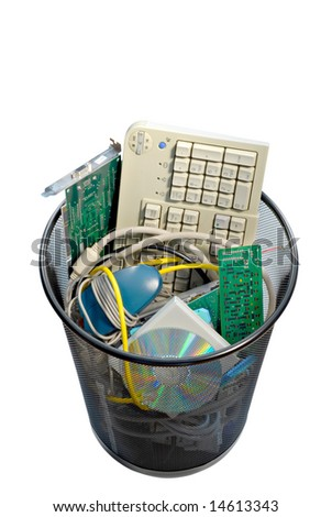 A waste basket of used computer parts ready for the trash. File has clipping path. - stock photo