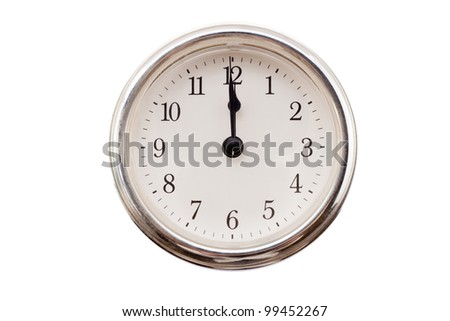 a watchmaker on white background, which marks the 12 hours - stock photo