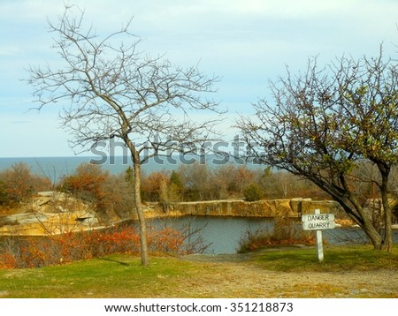 A Water Quarry at Halibut Point State Park in Rockport, Massachusetts - stock photo