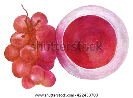 A watercolor drawing of a glass of red wine with a branch of grapes, an overhead view, hand painted in watercolor on white background, enhanced with a vibrant texture - stock photo