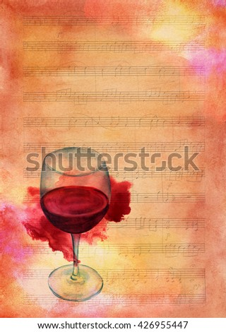 A watercolor drawing of a glass of red wine with a grunge stain on a piece of sheet music aged with textures; an artistic wine list or invitation design template with copyspace - stock photo