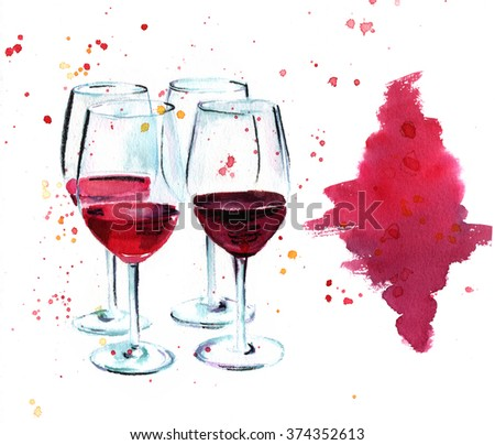 A watercolor drawing of four wine glasses on a wine tasting, with a watercolor stain for design, on white background - stock photo