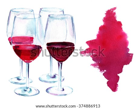 A watercolor drawing of wine glasses at a tasting, with a watercolor stain for design, on white background - stock photo