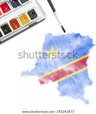 A watercolor painting of Democratic Republic of the Congo in the national colors.(series) - stock photo