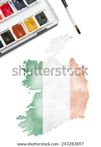 A watercolor painting of Ireland in the national colors.(series) - stock photo