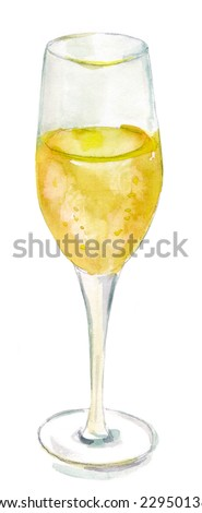 A watercolour drawing of a glass of sparkling wine - stock photo