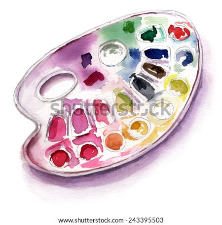 A watercolour drawing of a palette on white background - stock photo