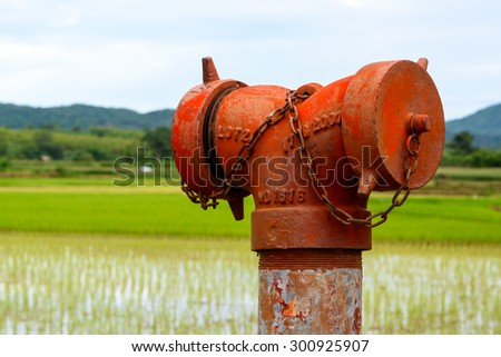 A weathered red fire hydrant (emergency water supply) near a paddy field. - stock photo
