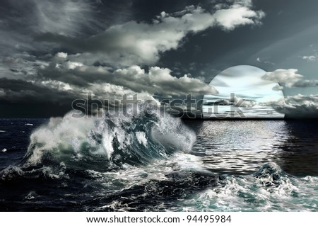 A weavy ocean surface under cloud sky and big white moon. - stock photo