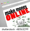 A web browser window shows the words Make Money Online and a person in pile of cash - stock photo