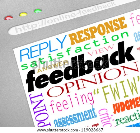 A website screen showing an online survey for collecting feedback, opinions, answers and viewpoints from customers or audience members - stock photo