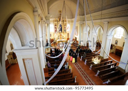 A wedding in a church, upper view - stock photo